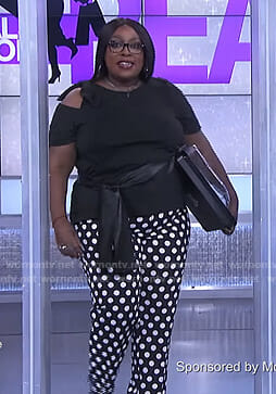 Loni's black top and polka dot pants on The Real