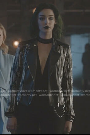 Lorna's black studded jacket on The Gifted