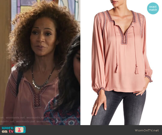 Embroidered Tassel Blouse by Lucky Brand worn by Lena Adams Foster (Sherri Saum) on The Fosters