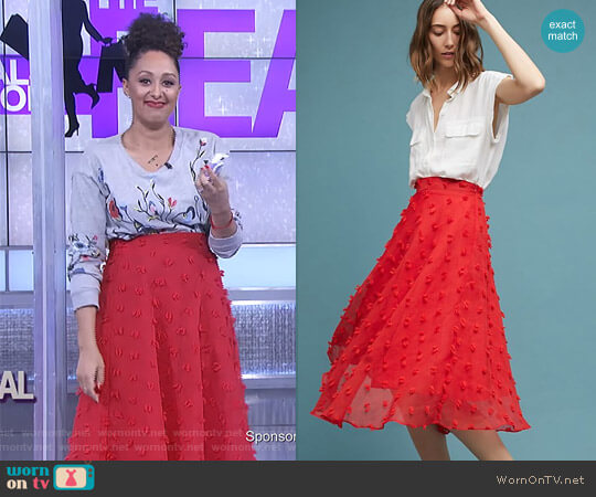 'Marlow' Textured Skirt by Luxe by Stylekeepers worn by Tamera Mowry on The Real