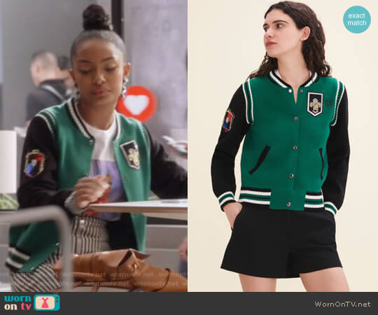 Two-Tone Knit Bomber by Maje worn by Yara Shahidi on Grown-ish