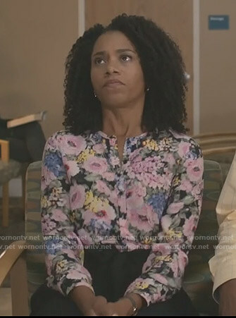 Maggie's floral long sleeve blouse on Grey's Anatomy