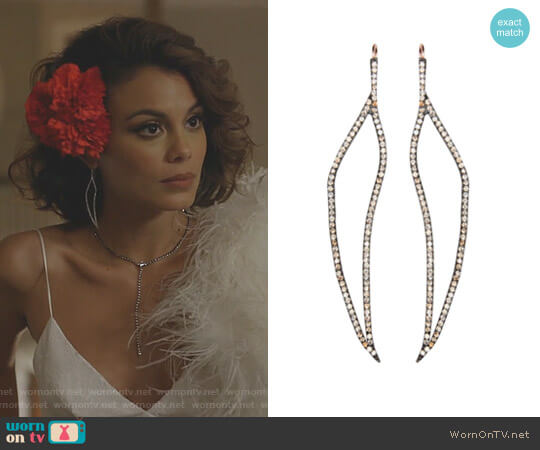 Just Breathe Earrings by Maha Lozi worn by Nathalie Kelley on Dynasty