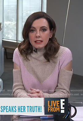 Melanie's beige and pink cutout sweater on Live from E!
