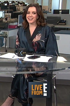 Melanie's green floral blazer and pants on Live from E!