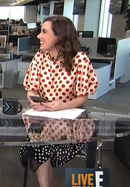 Melanie's polka dot puff sleeve top and skirt on Live from E!