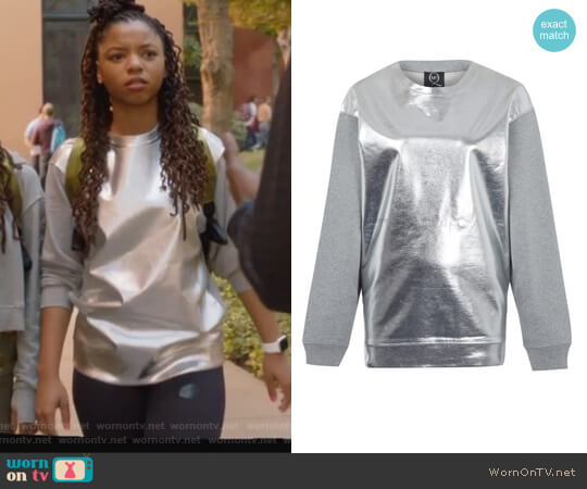 Metallic Front Sweatshirt by Alexander Mcqueen worn by Jazlyn Forster (Chloe Bailey) on Grown-ish
