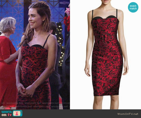 Michael Kors Silk Bustier Sheath Dress worn by Amelia Heinle on The Young & the Restless