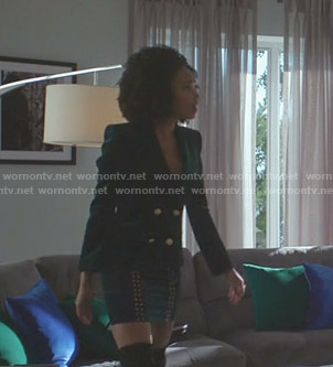 Monica's green velvet blazer and eyelet mini skirt on Dynasty