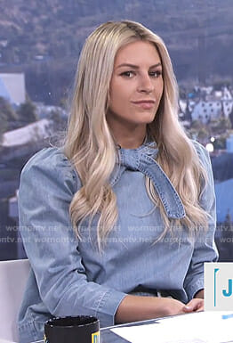 Morgan's bow neck denim blouse on E! News Daily Pop