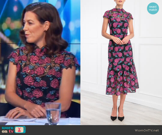 Corinne Dress Floral by Moss and Spy worn by Gorgi Coghlan  on The Project