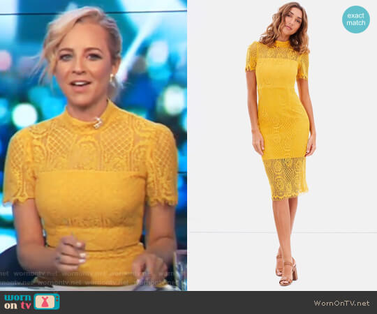 Making The Connection Dress by Mossman worn by Carrie Bickmore  on The Project