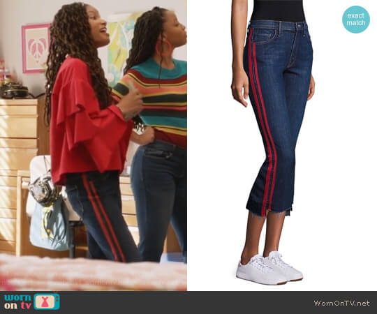 Insider Striped Raw-Edge Step Hem Jeans by Mother worn by Skylar Forster (Halle Bailey) on Grown-ish