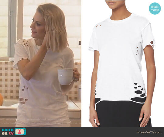 Destroyed White T-Shirt by NSF worn by Dorit Kemsley on The Real Housewives of Beverly Hills