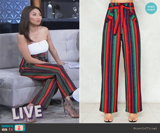 All the Way to Reno Striped Pants by Nasty Gal worn by Jeannie Mai  on The Real