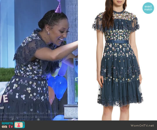 Anglais Tiered Dress by Needle & Thread worn by Tamera Mowry (Tamera Mowry) on The Real