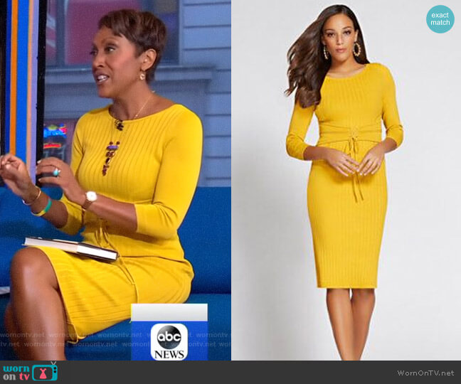 380ad7a806 Gabrielle Union Collection Corset Sweater Dress by New York   Company worn  by Robin Roberts (