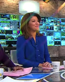 Norah's blue ruffle front dress on CBS This Morning