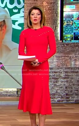 Norah's red button detail dress on CBS This Morning