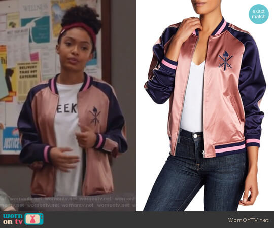 Reversible Silk Graphic Bomber Jacket by Opening Ceremony worn by Yara Shahidi on Grown-ish