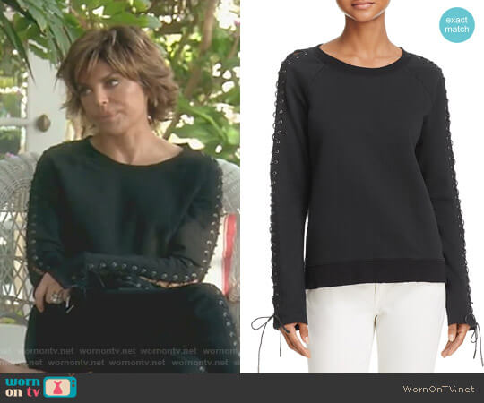 Lace-Up Sweatshirt by Pam & Gela worn by Lisa Rinna  on The Real Housewives of Beverly Hills