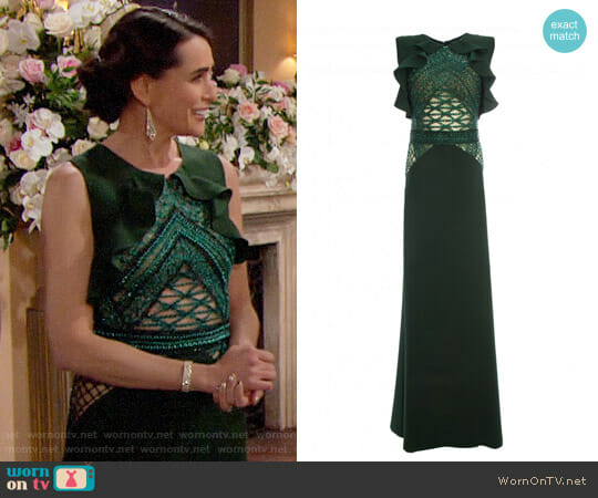 Patricia Bonaldi Dark Green Dress worn by Rena Sofer on The Bold & the Beautiful