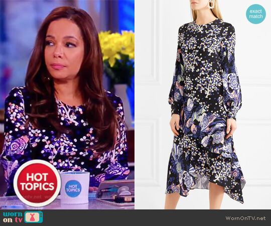 Asymmetric printed silk midi dress by Peter Pilotto worn by Sunny Hostin on The View
