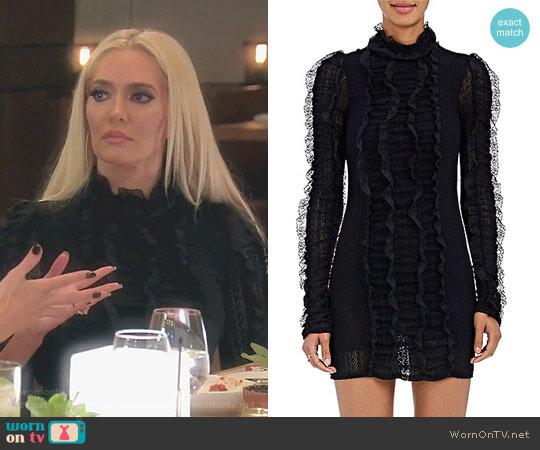 Ruffle Lace Minidress by Philosophy di Lorenzo Serafini worn by Erika Girardi on The Real Housewives of Beverly Hills