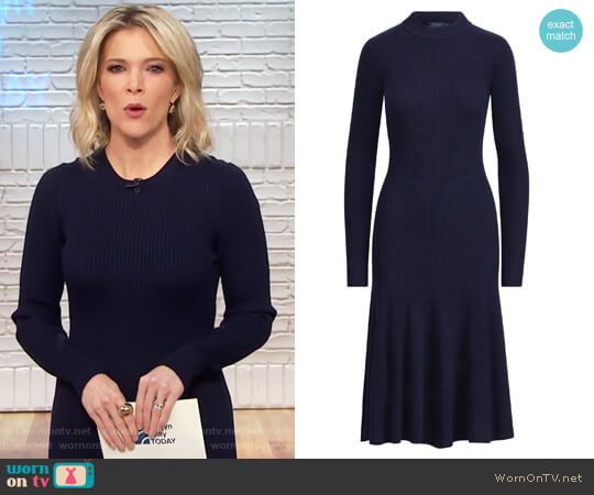 Ribbed Merino Wool Dress by Ralph Lauren worn by Megyn Kelly  on Today