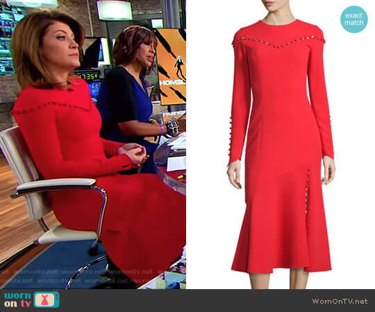 Button-Trim Long-Sleeve Midi Dress by Prabal Gurung worn by Norah O'Donnell on CBS This Morning