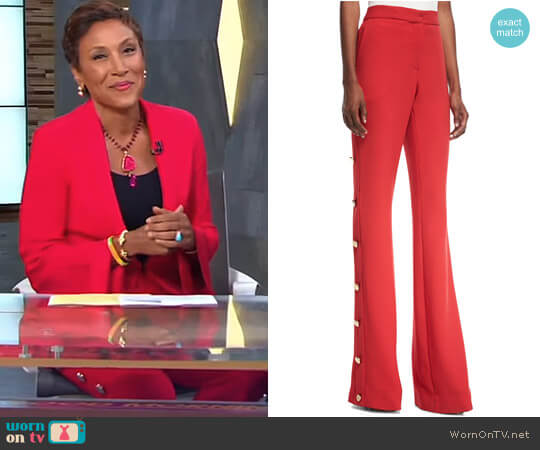 High-Waist Flared-Leg Pants with Side-Button Detail by Prabal Gurung worn by Robin Roberts on Good Morning America