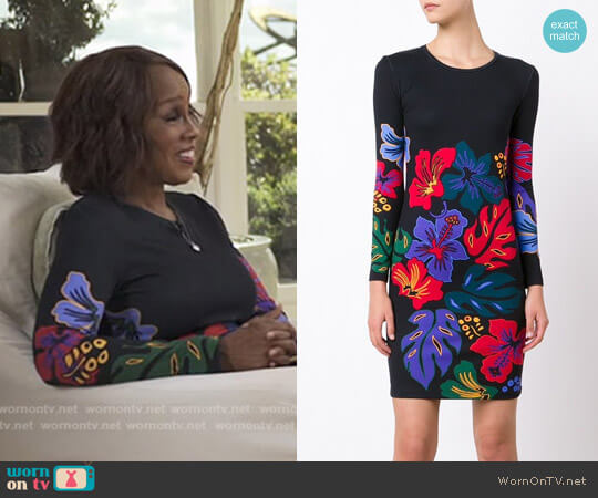 Floral print knit dress by Prabal Gurung worn by Gayle King on CBS This Morning