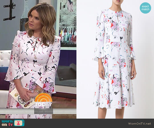 Pleated Skirt Floral Dress by Prabal Gurung worn by Jenna Bush Hager on Today