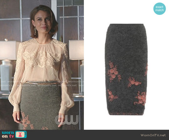Beaded Angora-Blend Skirt by Prada worn by Nathalie Kelley on Dynasty