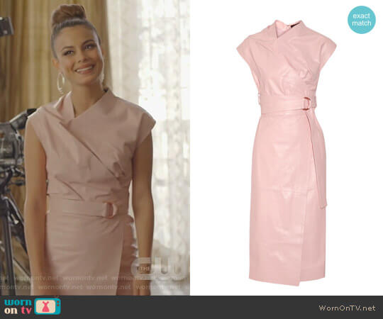 Draped Leather Wrap Midi Dress by Proenza Schouler worn by Cristal Flores (Nathalie Kelley) on Dynasty
