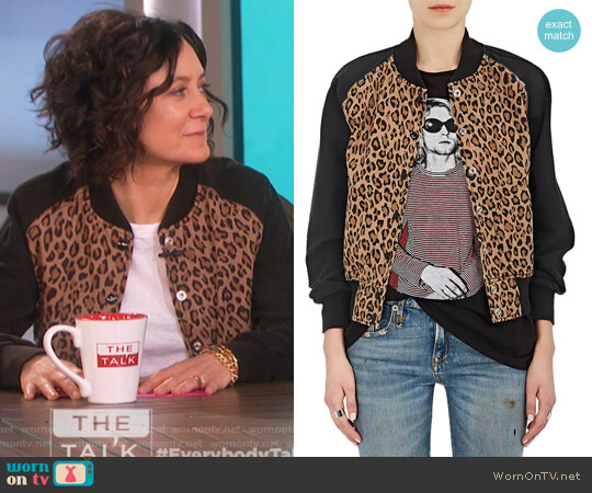 Leopard-Print Cotton-Blend Bomber Jacket by R13 worn by Sara Gilbert  on The Talk