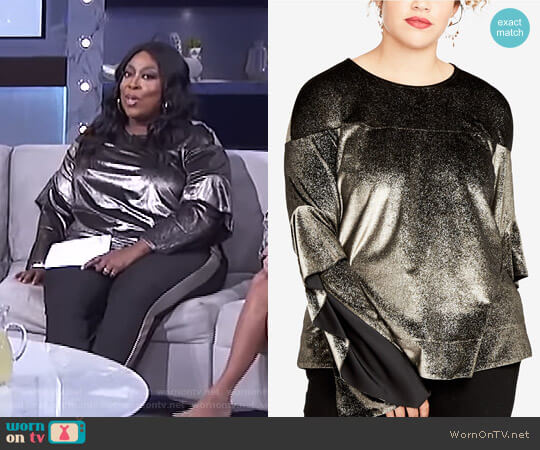 Metallic Ruffle-Sleeve Top by RACHEL Rachel Roy Curvy worn by Loni Love on The Real