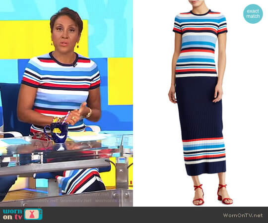 Striped Short-Sleeve Sweater and Rib-Knit Midi Skirt by Lauren Ralph Lauren worn by Robin Roberts (Robin Roberts) on Good Morning America