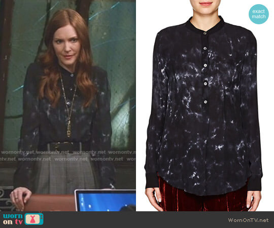 Tie-Dyed Silk Henley Blouse by Raquel Allegra worn by Abby Whelan (Darby Stanchfield) on Scandal
