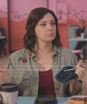 Rebecca's green embroidered shirt on Crazy Ex-Girlfriend