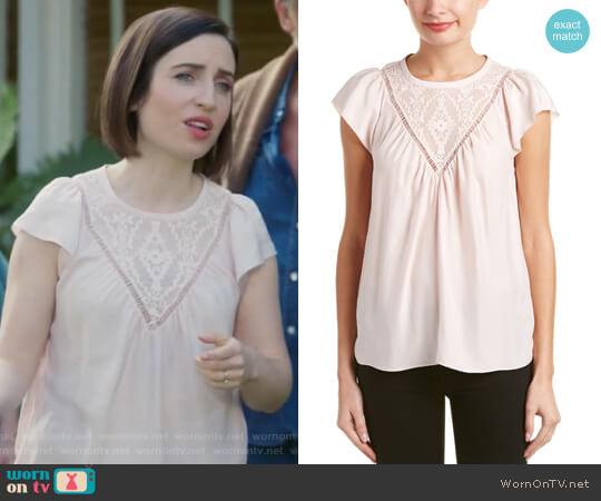 Aztec Embroidered Silk Top by Rebecca Taylor worn by Zoe Lister-Jones on Life in Pieces