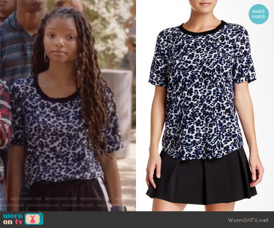Lynx Print Short Sleeve Silk Blouse by Rebecca Taylor worn by Skylar Forster (Halle Bailey) on Grown-ish