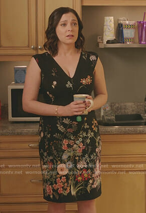 Rebecca's black floral dress on Crazy Ex-Girlfriend