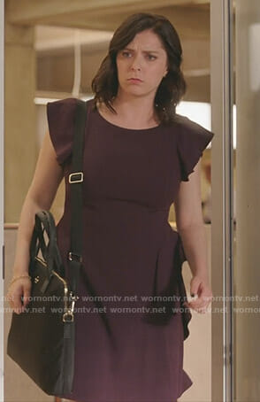 Rebecca's purple ruffled dress on Crazy Ex-Girlfriend
