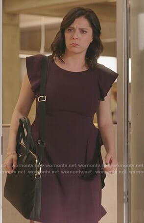 Rebecca's purple ruffled dress on Crazy Ex-Girlfriend