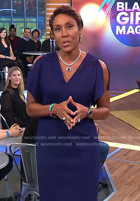 Robin's blue slit sleeve dress on Good Morning America