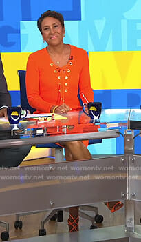 Robin's orange lace up dress on Good Morning America
