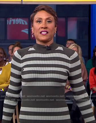 Robin's striped ribbed dress on Good Morning America