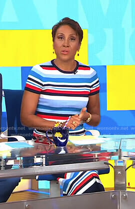 Robin's striped short sleeve top and ribbed skirt on Good Morning America