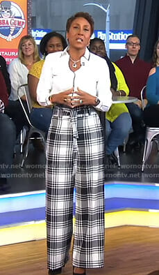 Robin's white plaid wide-leg pants on Good Morning America